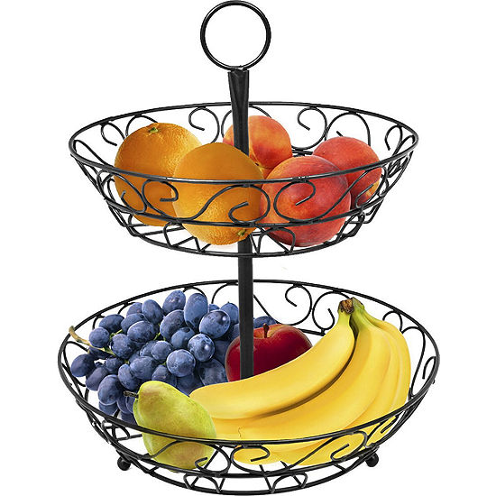 Sorbus 2-Tier Countertop Fruit Basket Holder & Decorative Bowl Stand-Perfect for Fruit, Vegetables, Snacks, Household Items, and Much More