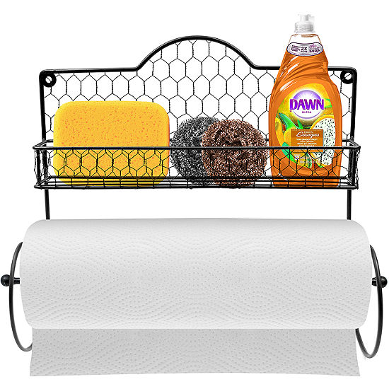 Sorbus Paper Towel Holder, Spice Rack and Multi-Purpose Shelf-Wall Mounted Storage for Kitchen Accessories, Towels, Toiletries, Supplies, etc.-Ideal for Kitchen/Bathroom-Made of Steel (Black)