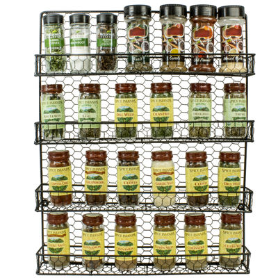 Sorbus Spice Rack and Multi-Purpose Organizer-Decorative 4 Tier Wall Mounted Storage Rack -Great for Storing Spices, Household items and More- Made of Steel (Black)