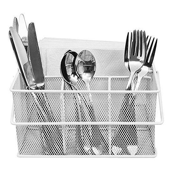 Sorbus Utensil Caddy - Silverware, Napkin Holder, and Condiment Organizer - Multi-Purpose Steel Mesh Caddy-Ideal for a Kitchen, Dining, Entertaining, Tailgating, Picnics, and much more (White)