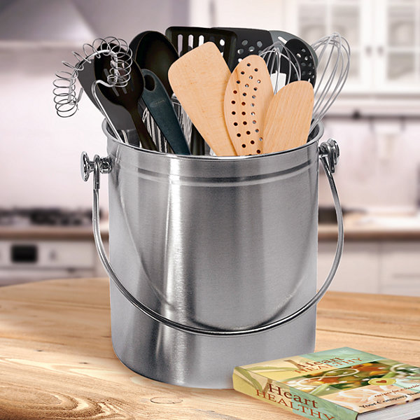 Utensil Holder Caddy Crock to Organize Kitchen Tools - Copper ...