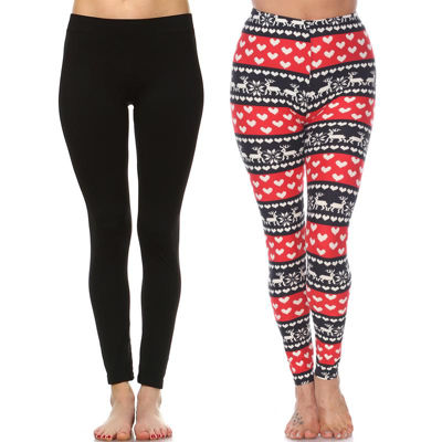 White Mark Women's Plus Size Legging-Pack of 2 (One Size Fits Most)