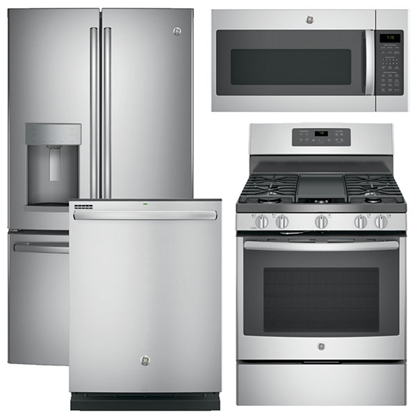 GE® 4-pc. Gas Kitchen Package- Stainless Steel