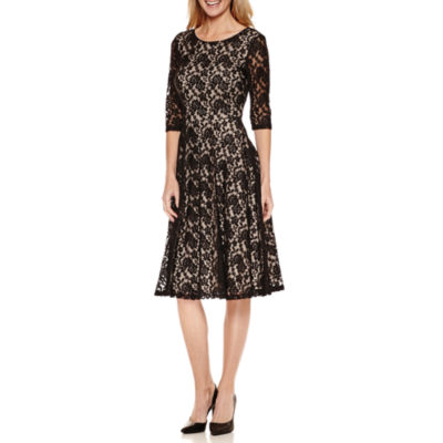 Melrose 3/4 Sleeve Fit & Flare Dress