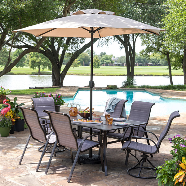 Outdoor Oasis Melbourne 7-pc. Rectangular Tile Patio Dining Set with ...