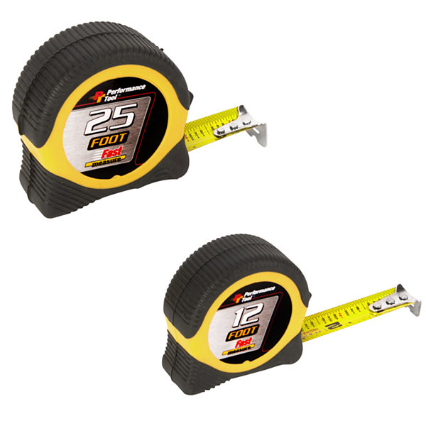 Performance Tool W5025Bp 25' & 12' Tape Measure 2Piece Set