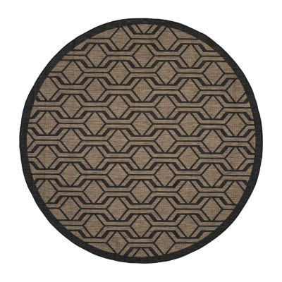 Safavieh Courtyard Collection Jack Geometric Indoor/Outdoor Round Area Rug