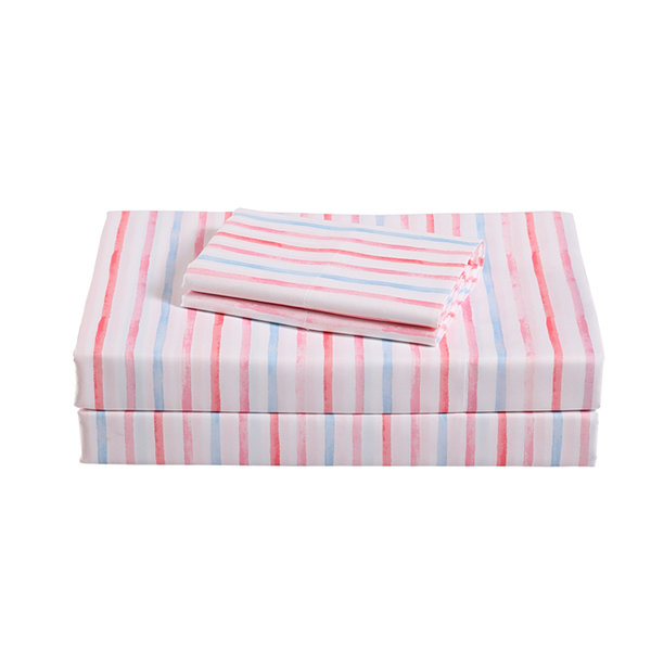 Frank And Lulu Watercolor Stripe Microfiber Easy Care Sheet Set