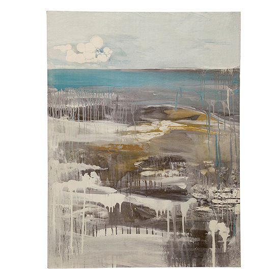 "Stylecraft Aqua Pura Exudes 36"" W Canvas Art"