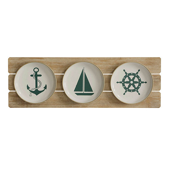 "Stylecraft 35.4"" W Sailing Plates Beach + Nautical Wall Sculpture"