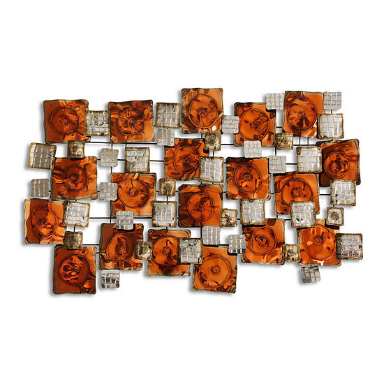 "Stylecraft 28.3"" W Amber Burnished Metal Wall Art"