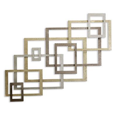 "Stylecraft 51"" W Gold Geometric Metal Wall Art"