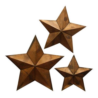 """Stylecraft Capitals 23"""" W  - Set Of 3 Stars Wall Art"""