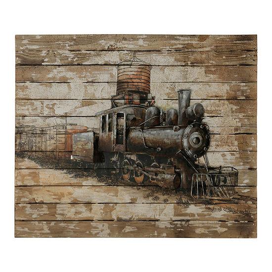 """Stylecraft 39.4"""" W Train Engine Canvas Art"""