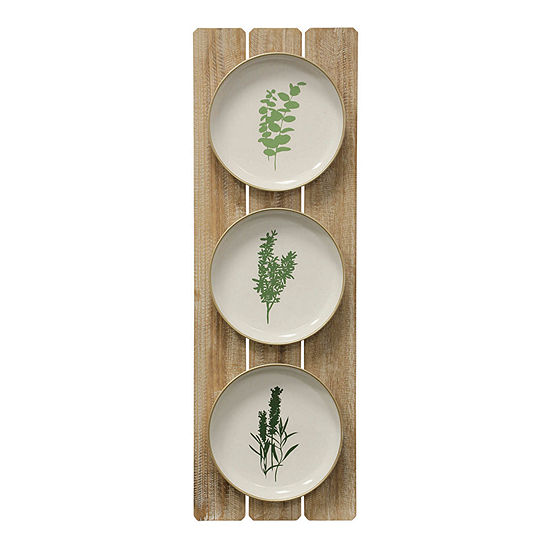 "Stylecraft 11.8"" W Herbs Plates Canvas Art"