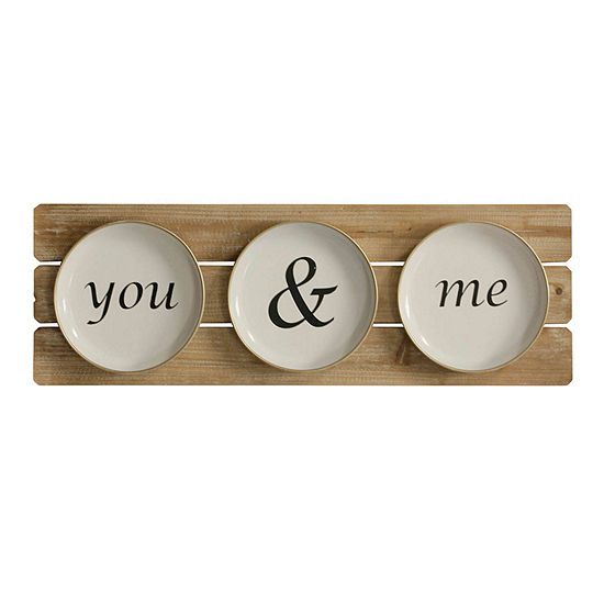 "Stylecraft 35.4"" W You And Me Plates Canvas Art"