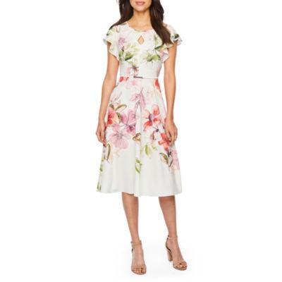 Danny & Nicole Short Sleeve Floral Belted Fit & Flare Dress