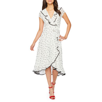Danny & Nicole Short Sleeve Dots Fit & Flare Dress