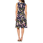 Jessica Howard Sleeveless Floral Midi Fit & Flare Dress