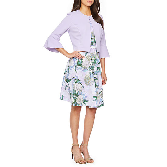 Danny & Nicole 3/4 Bell Sleeve Belted Jacket Dress