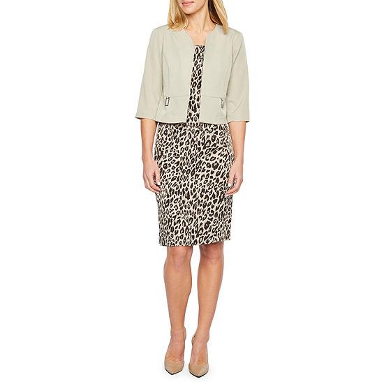 Maya Brooke 3 4 Sleeve Animal Print Jacket Dress