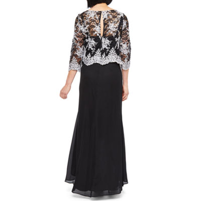Maya Brooke 3/4 Sleeve Embroidered Top High Low Evening Gown