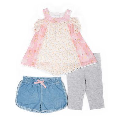 Little Lass 3-pc. Short Set Baby Girls