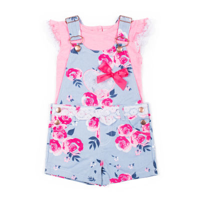 Little Lass 2-pc. Shortall Set Baby Girls