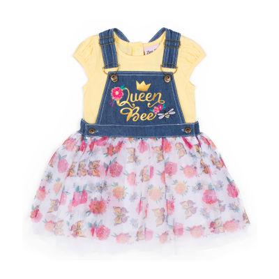 Little Lass 2-pc. Shortall Set Baby Girls