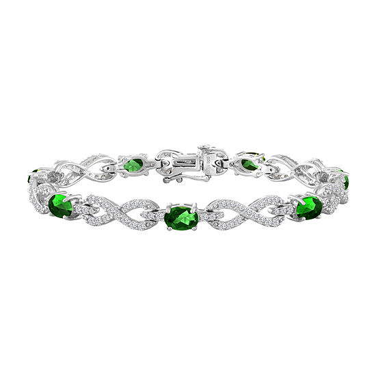 Simulated Green Sterling Silver Infinity 7.5 Inch Tennis Bracelet