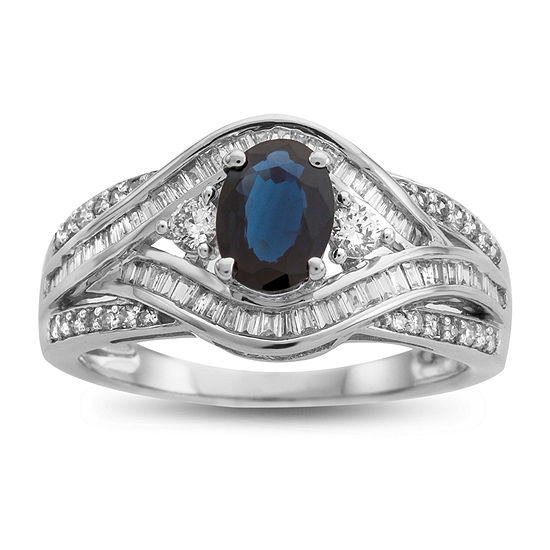 Womens Genuine Blue Sapphire 14K White Gold Cocktail Ring