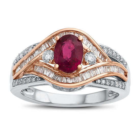 Womens Lead Glass-Filled Red Ruby 14K Two Tone Gold Cocktail Ring