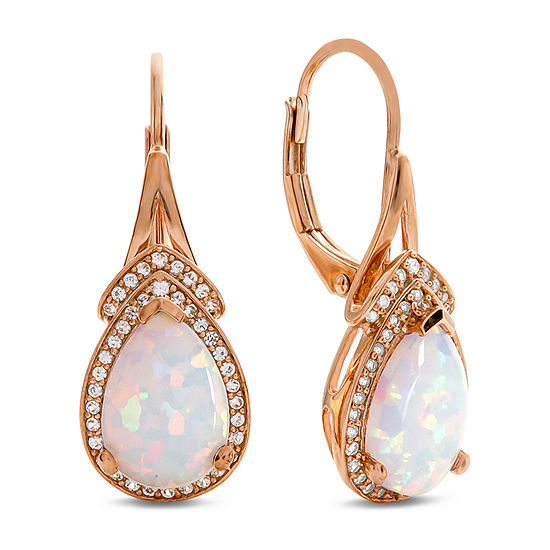 1/4 CT. T.W. Lab Created White Opal 10K Rose Gold Drop Earrings
