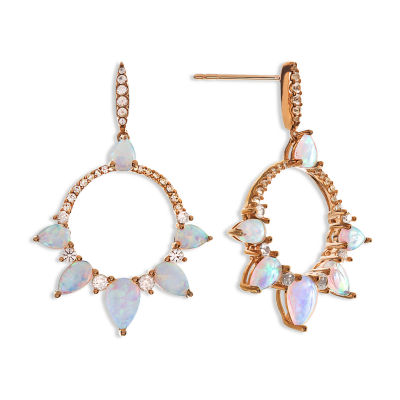 1/2 CT. T.W. Lab Created White Opal 10K Rose Gold Drop Earrings
