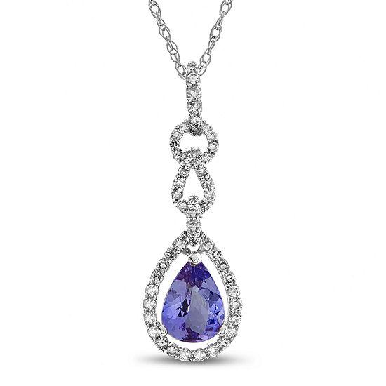 Womens 1/4 CT. T.W. Genuine Purple Tanzanite 10K White Gold Pendant Necklace