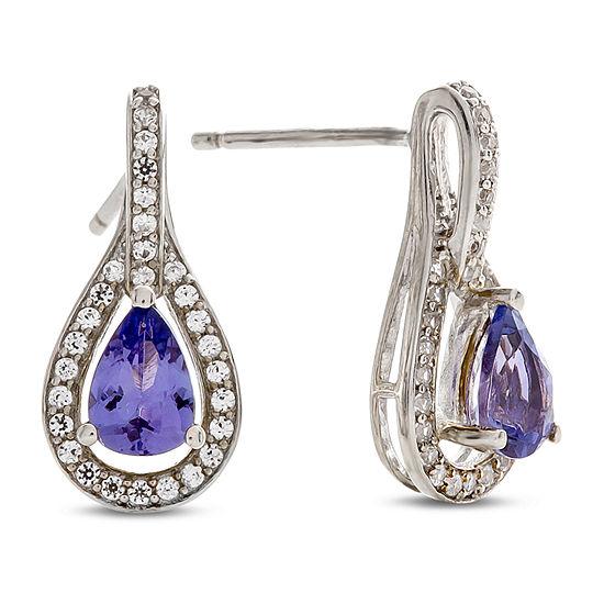 1/4 CT. T.W. Genuine Purple Tanzanite 10K White Gold Drop Earrings