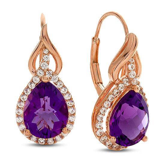 1/3 CT. T.W. Genuine Purple Amethyst 10K Rose Gold Drop Earrings