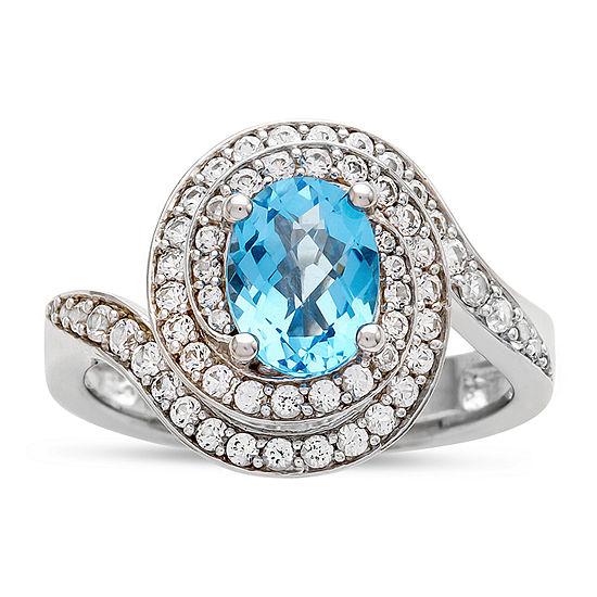 Womens 1/2 CT. T.W. Genuine Blue Topaz 10K White Gold Cocktail Ring
