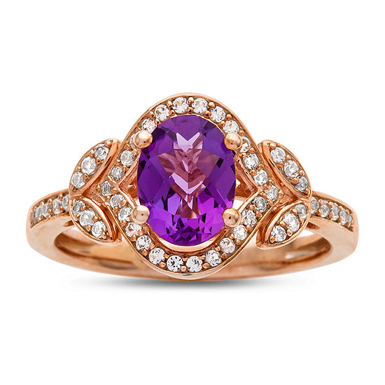 Womens 1/4 CT. T.W. Genuine Purple Amethyst 10K Rose Gold Cocktail Ring