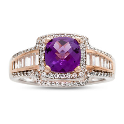 Womens 1/2 CT. T.W. Genuine Purple Amethyst 10K Gold Cocktail Ring