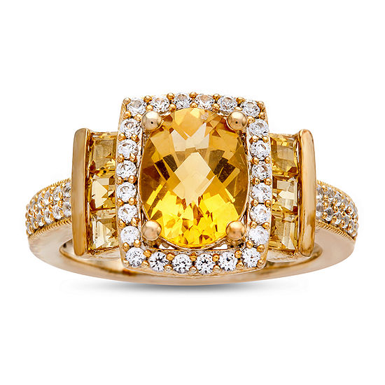 Womens 1/3 CT. T.W. Genuine Yellow Citrine 10K Gold Cocktail Ring