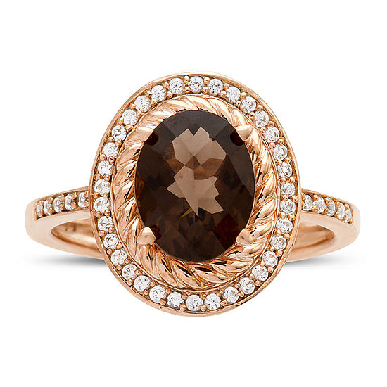 Womens 1/4 CT. T.W. Genuine Brown Quartz 10K Gold Cocktail Ring