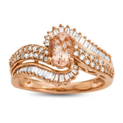 Womens 1/2 CT. T.W. Genuine Pink Morganite 10K Rose Gold Cocktail Ring