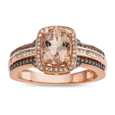 Womens Genuine Pink Morganite 14K Rose Gold Cocktail Ring