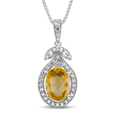 Womens Genuine Yellow Citrine Sterling Silver Pendant Necklace