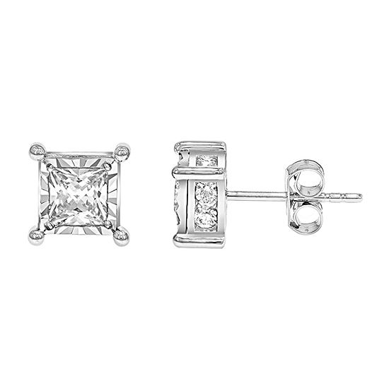 1 1/2 CT. T.W. Genuine White Diamond 14K White Gold Stud Earrings