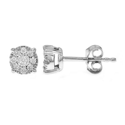 1/4 CT. T.W. Genuine White Diamond 10K White Gold Stud Earrings