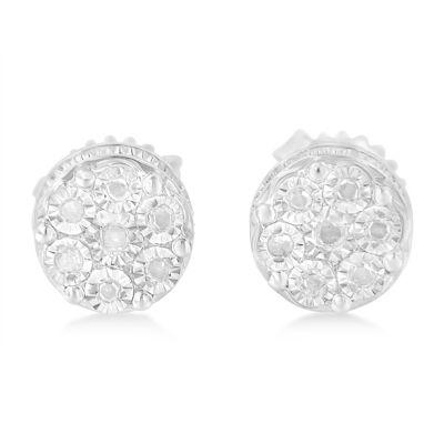 1/6 CT. T.W. Genuine White Diamond Sterling Silver 15mm Stud Earrings