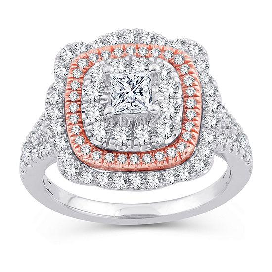 Womens 1 3 4 Ct Tw Genuine White Diamond 10k Gold 10k Rose Gold Engagement Ring