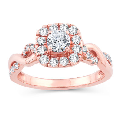 Womens Genuine White Diamond 10K Gold 10K Rose Gold Engagement Ring